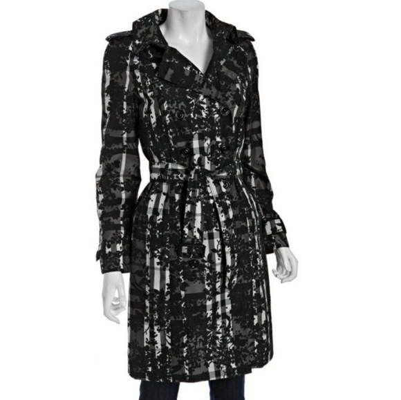 Burberry London Floral Check Belted Trench Coat 8